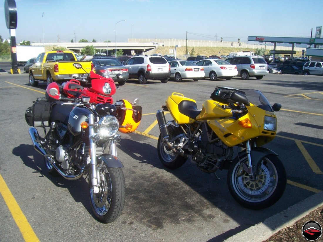 Ducati Sport Classic GT, Yellow Ducati 900 SuperSport and a Red Ducati Multistrada 1000DS parked for breakfast