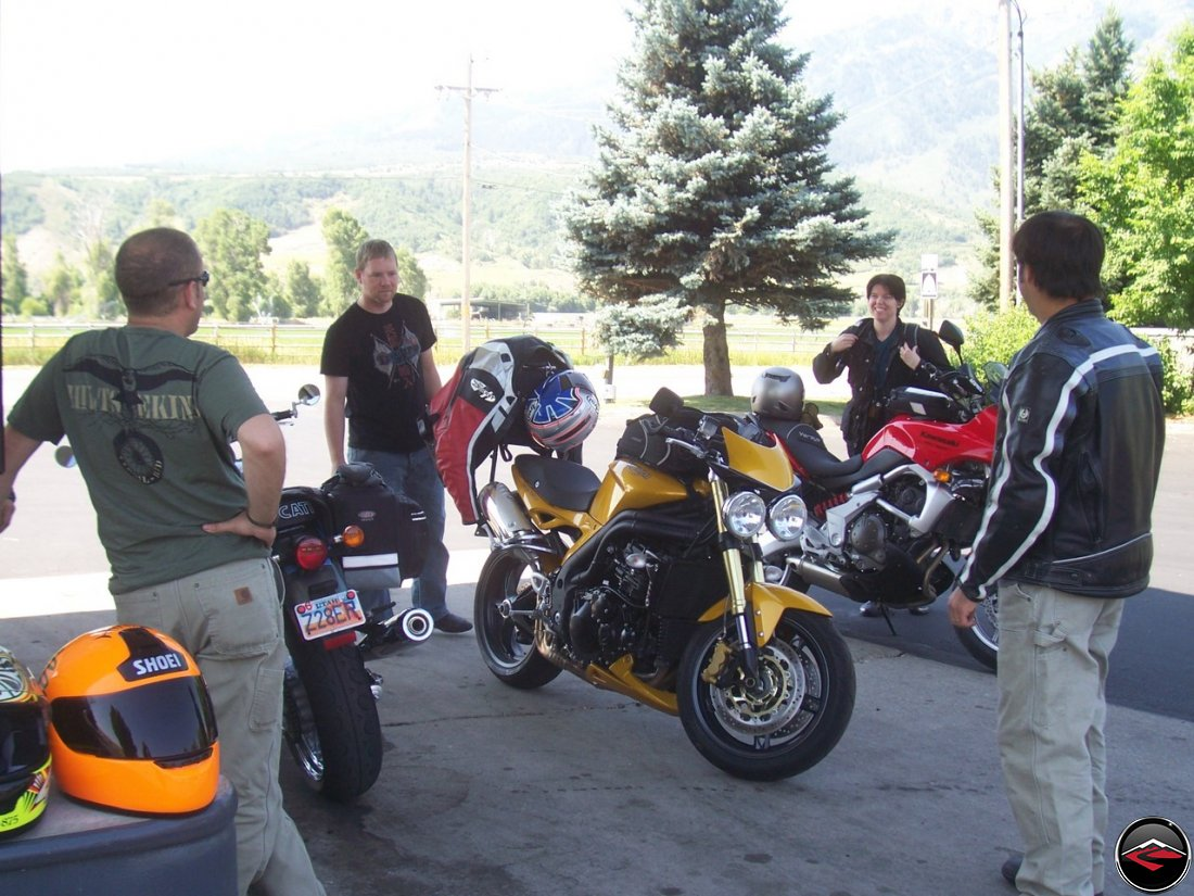 Motorcycles getting gas at the Mountain Green Sinclair Station