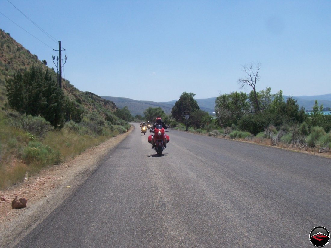 Motorcycles riding on Cisco Road on the east side of Bear Lake