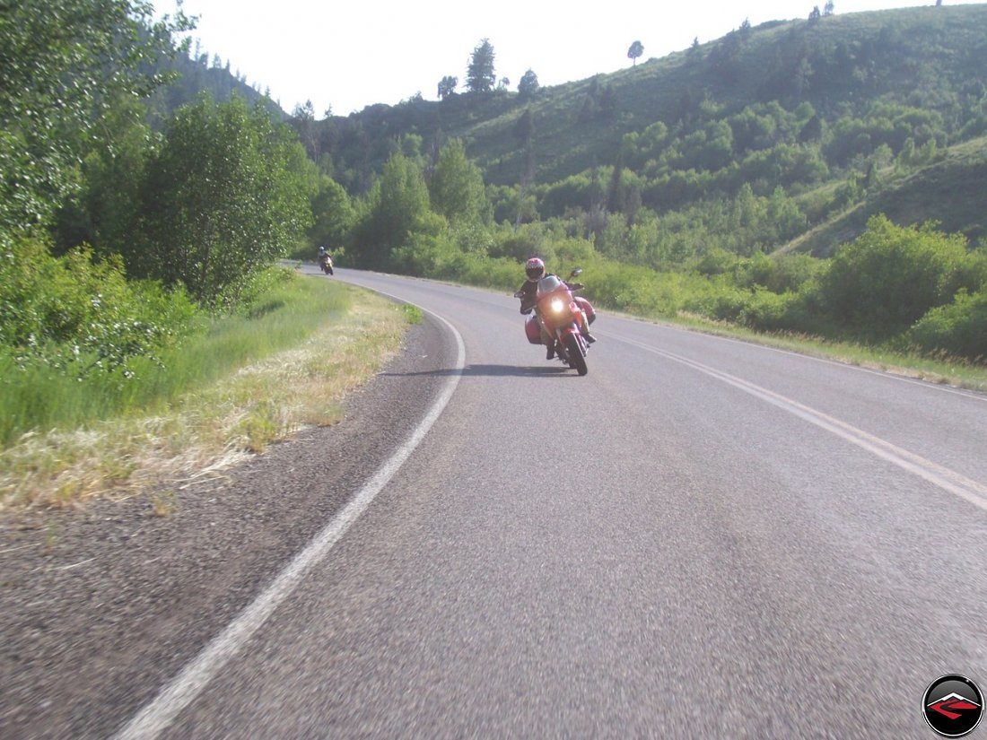 Motorcycles riding down Tin Cup Canyon near Freedom, Idaho