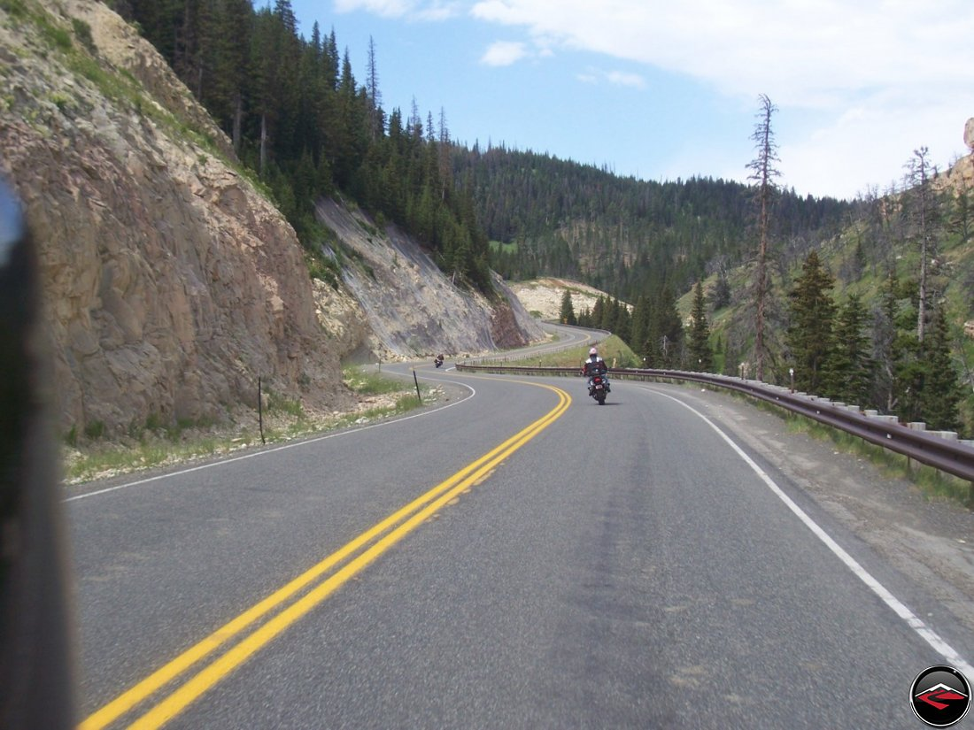 Lots of corners next to a cliff on Chief Joseph Scenic Byway
