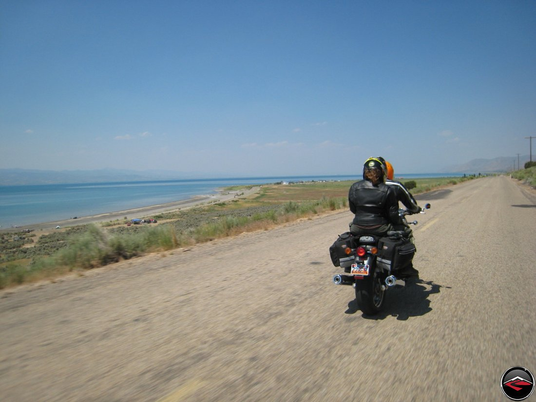 Motorcycle riding on Cisco Road along Bear Lake