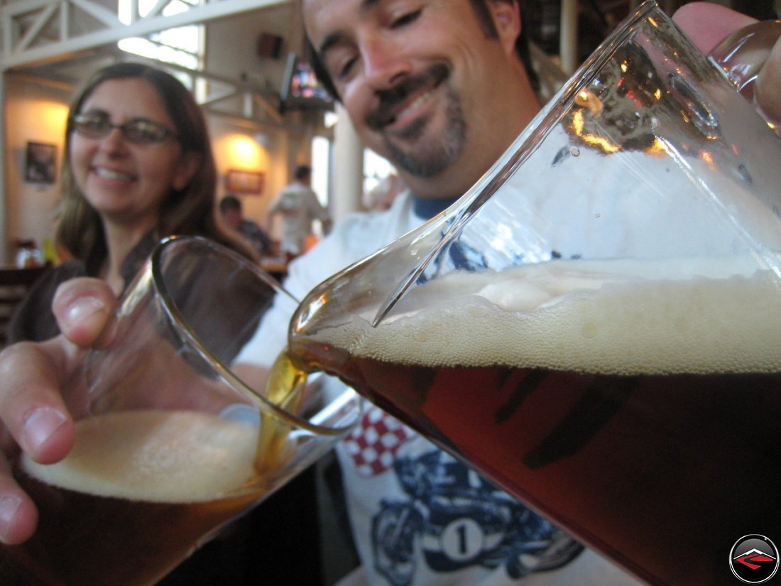 Man pouring beer at the Snake River Brewing Company