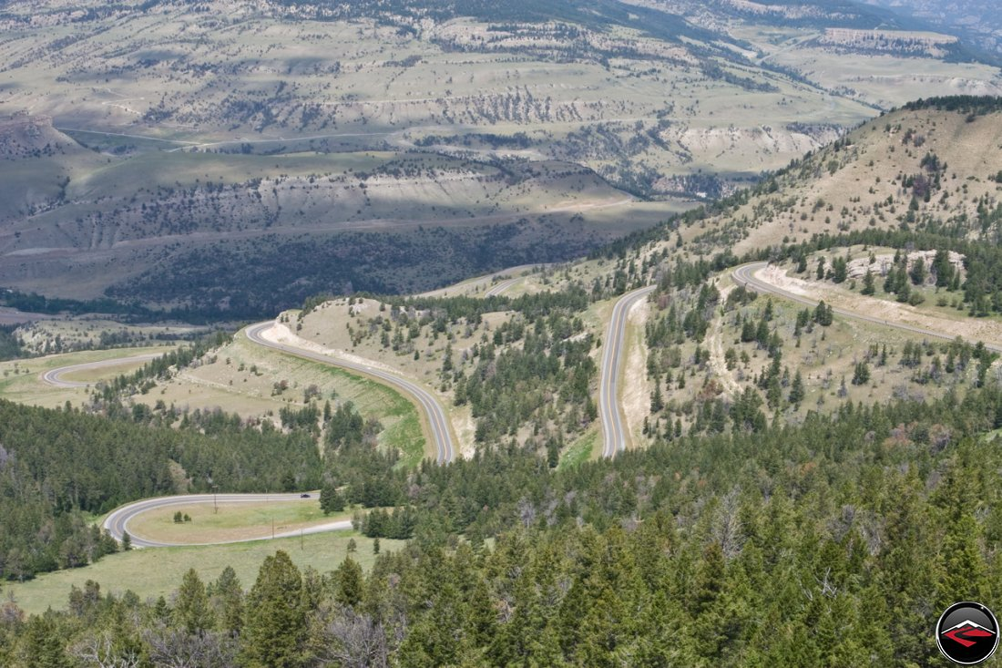 Panorama of Chief Joseph Scenic Byway switchbacks