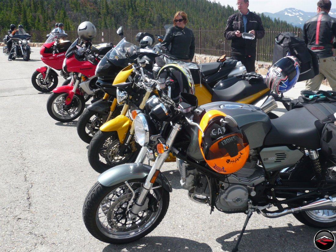 Motorcycles parked at the top of Chief Joseph Scenic Byway