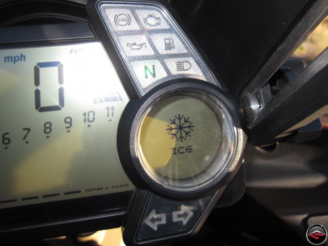 Ducati Multistrada gauge reading ice
