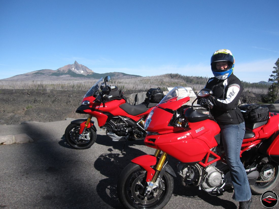 motorcycles near on McKenzie Pass near Dee Wright Observatory