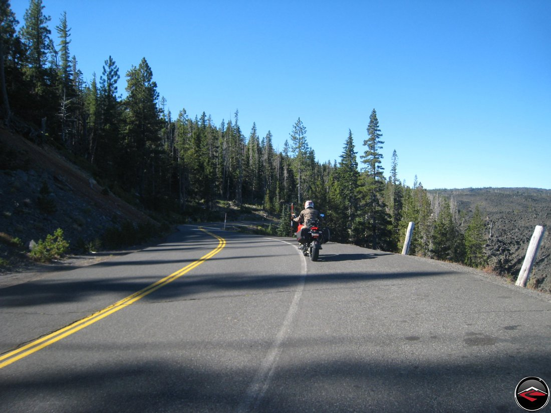 motorcycles ridign Oregon Highway 242 near Dee Wright Observatory