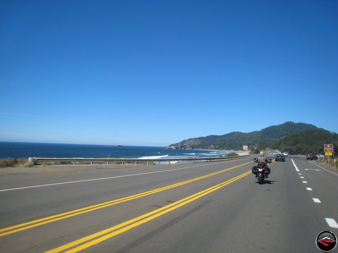 Motorcycle riding on the pacific coast highway in Oregon