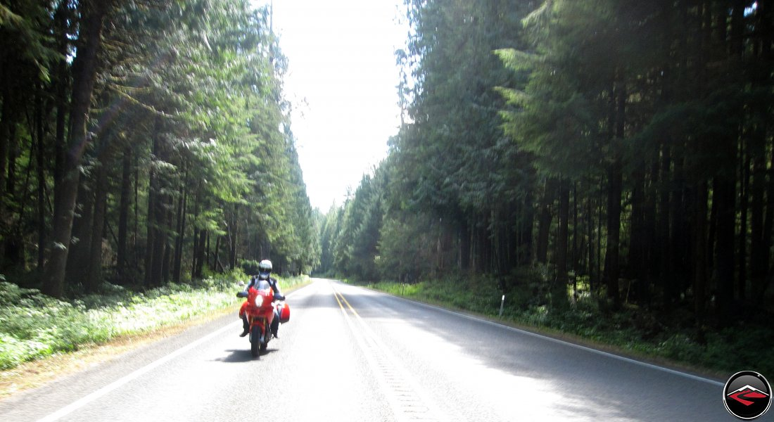 Ducati Multisrada 1100 Motorcycle riding Washington Highway S-26 through the trees