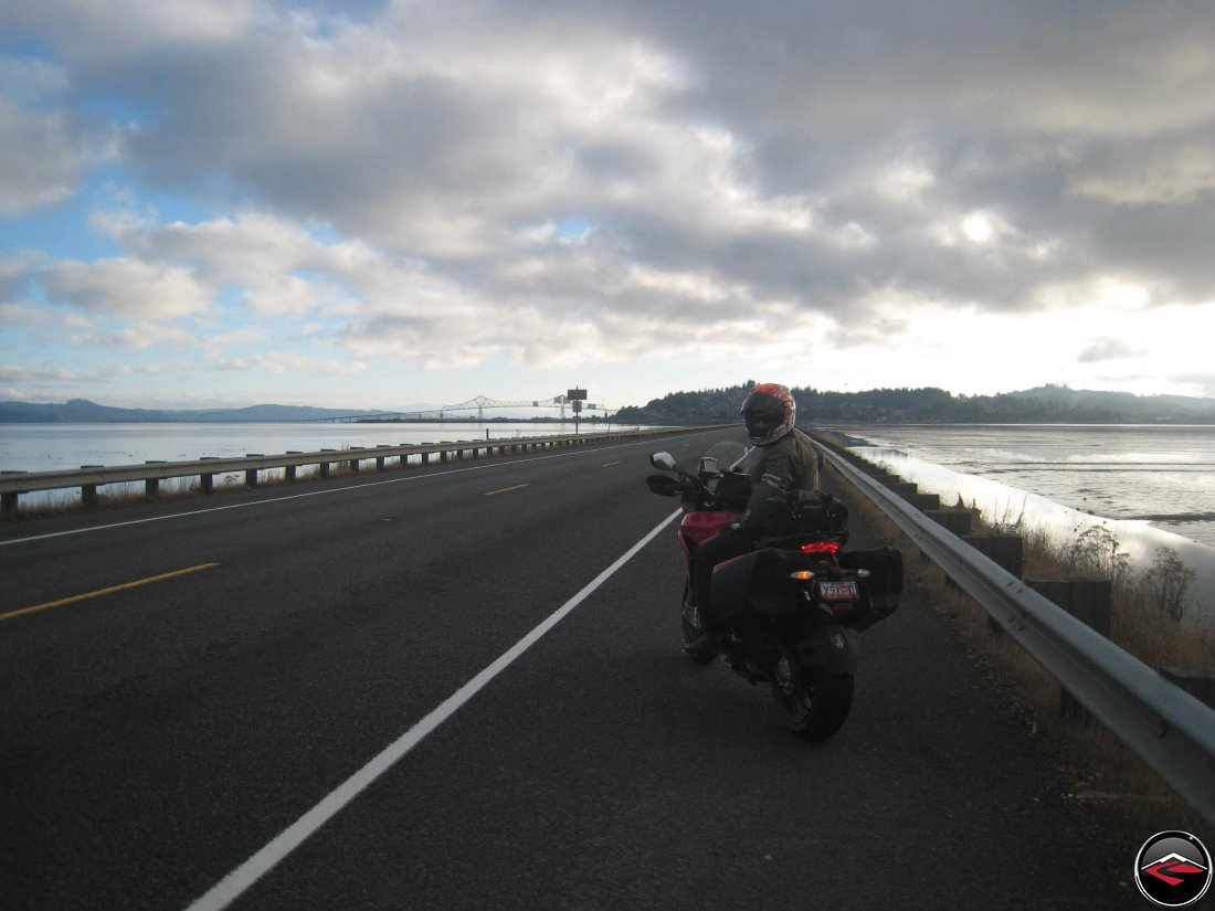 motorcyclist entering Astoria, Oregon