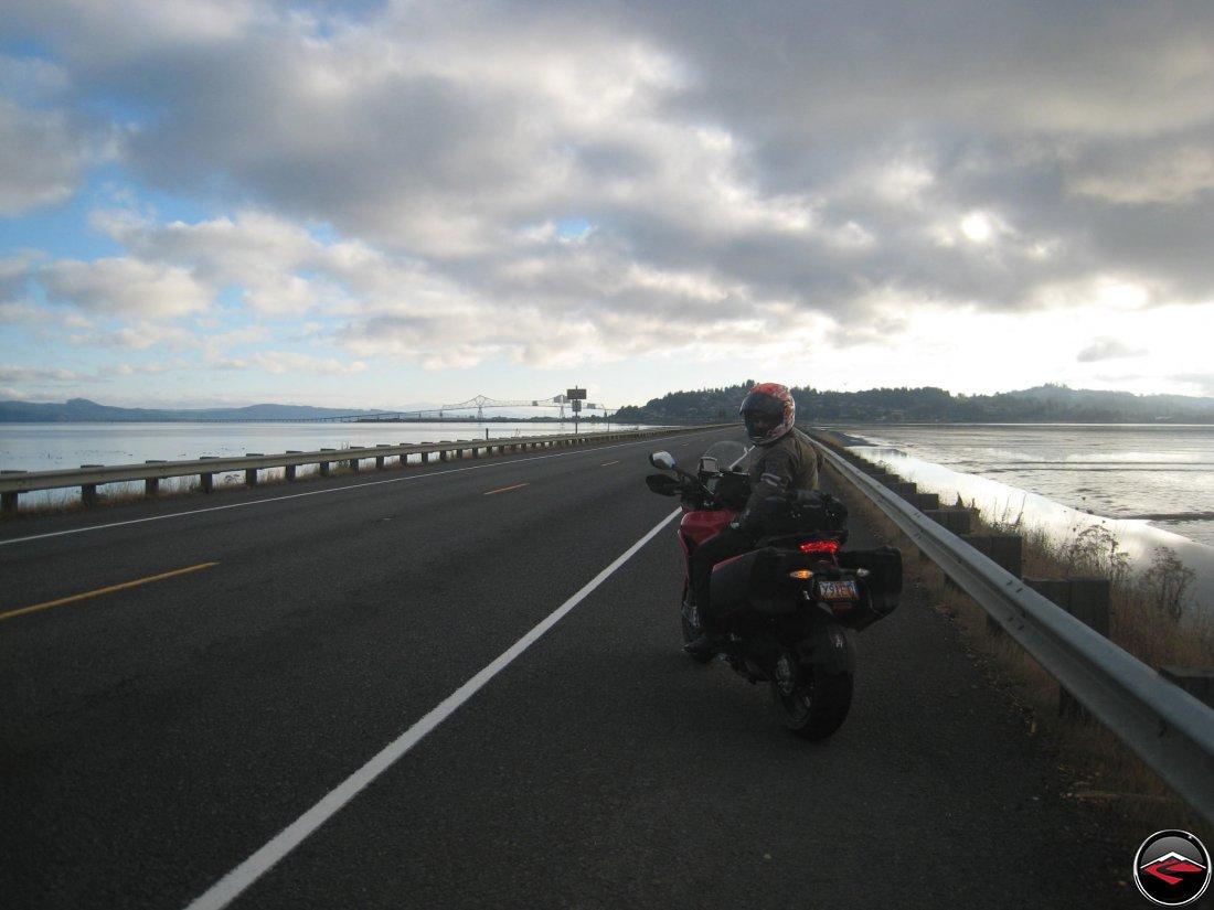 motorcyclist entering Astoria, Oregon