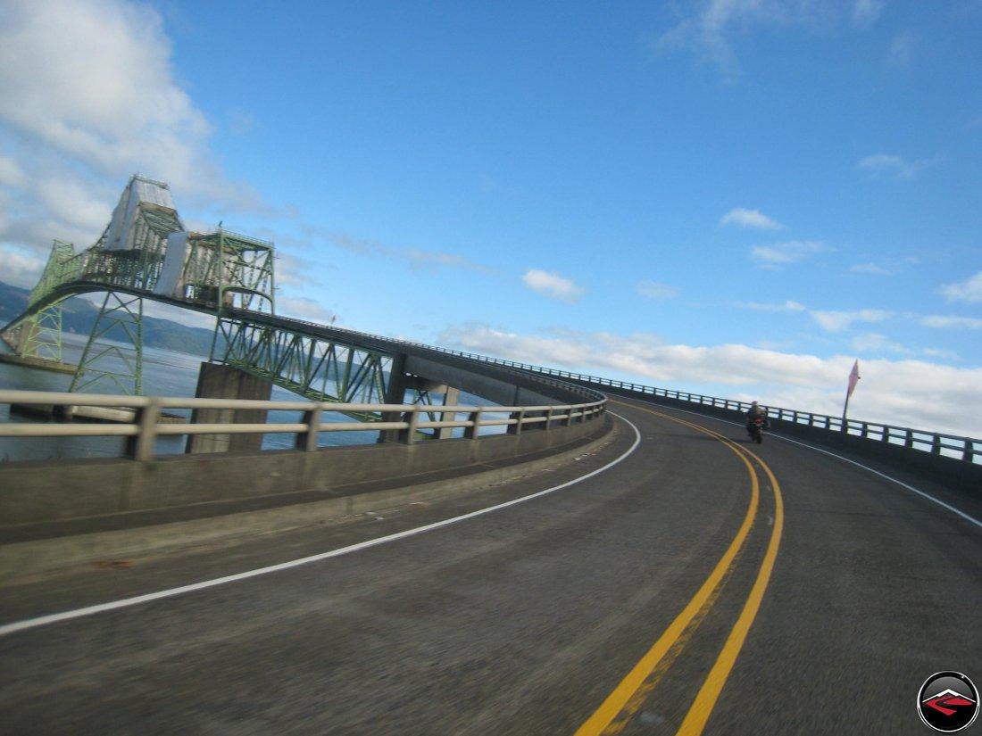 Riding motorcycles over the Meigler Bridge in Astoria, Oregon