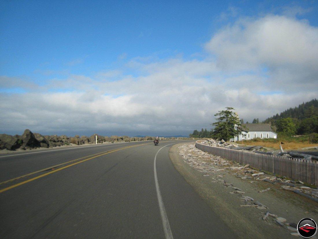 Riding motorcycles along the Washington Coast near Chinook, Washington