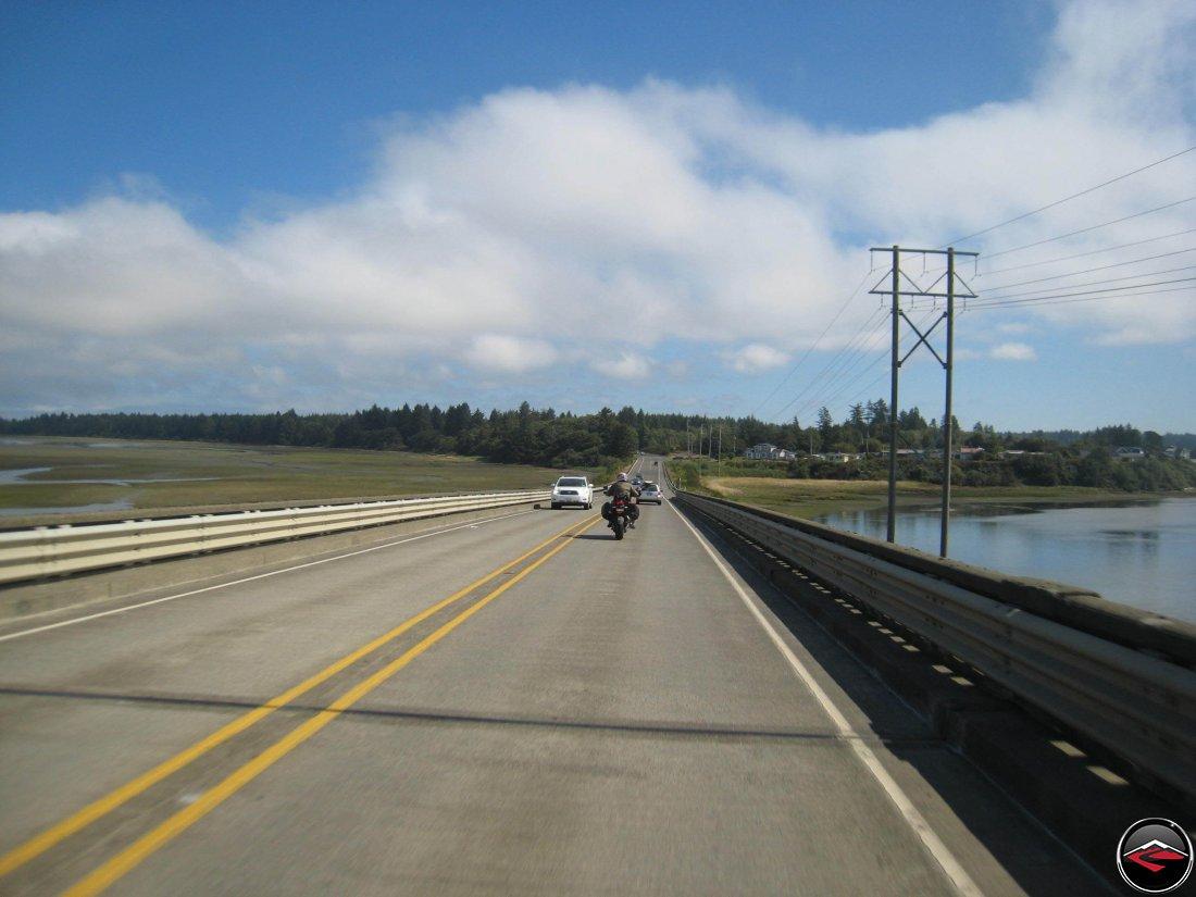 Motorcycle Crossing a bridge on Washington Highway 101