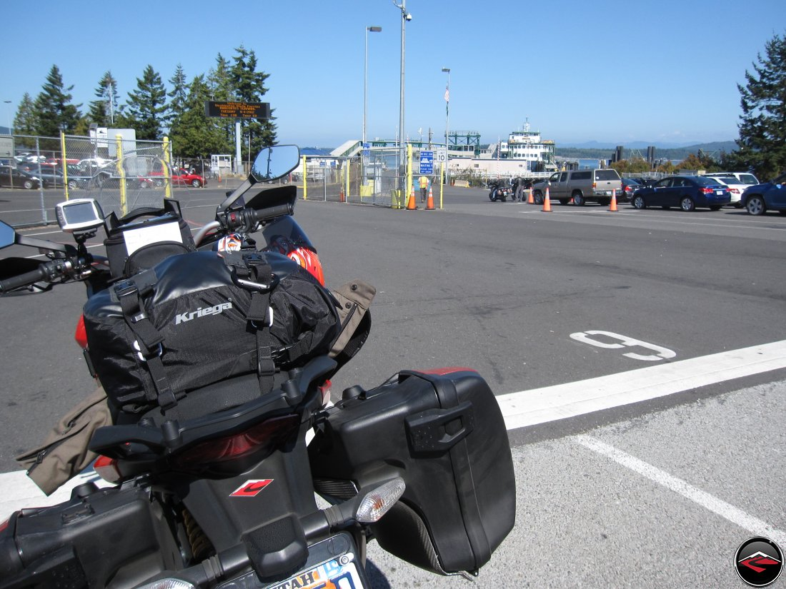 Motorcycle in queue for ferry at Anacortes