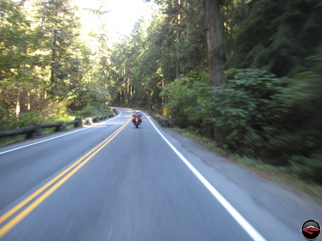 Riding a motorcycle on Whidbey Island Scenic Way