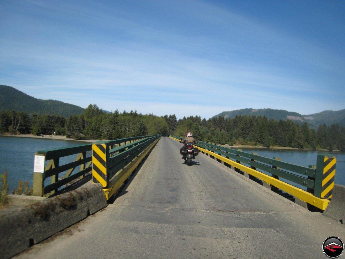 Single lane bridge on British Columbia Highway 14