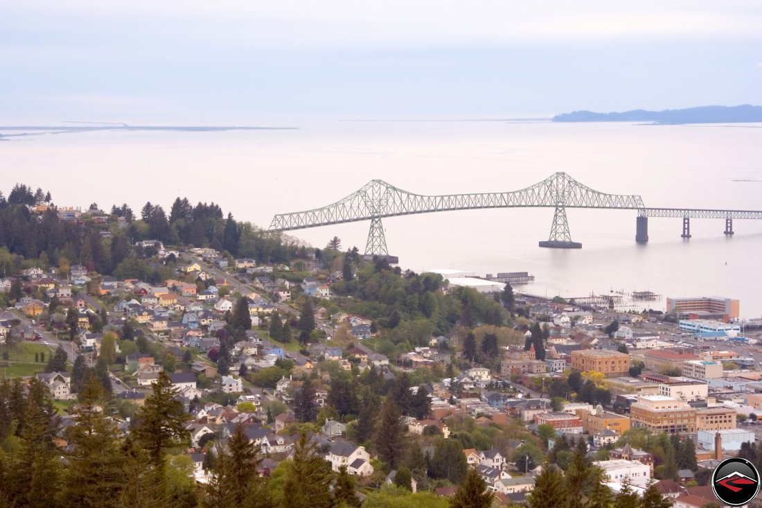 Astoria, Oregon with the Meigler Bridge in the background