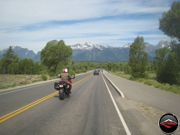 Dave riding towards the Tetons