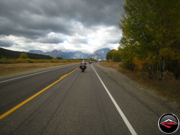 Shirley Rides Towards the Tetons
