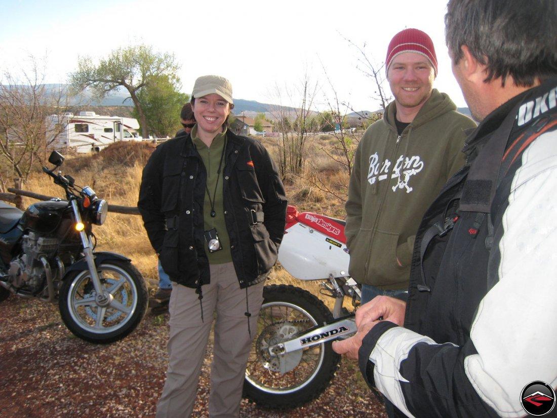 Joe arriving on his dirtbike