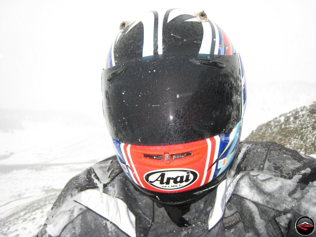 Snow sticking to the riding gear