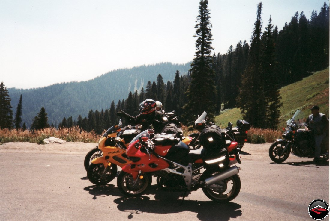 TL1000S and Honda Superhawk motorcycles on top of Teton Pass