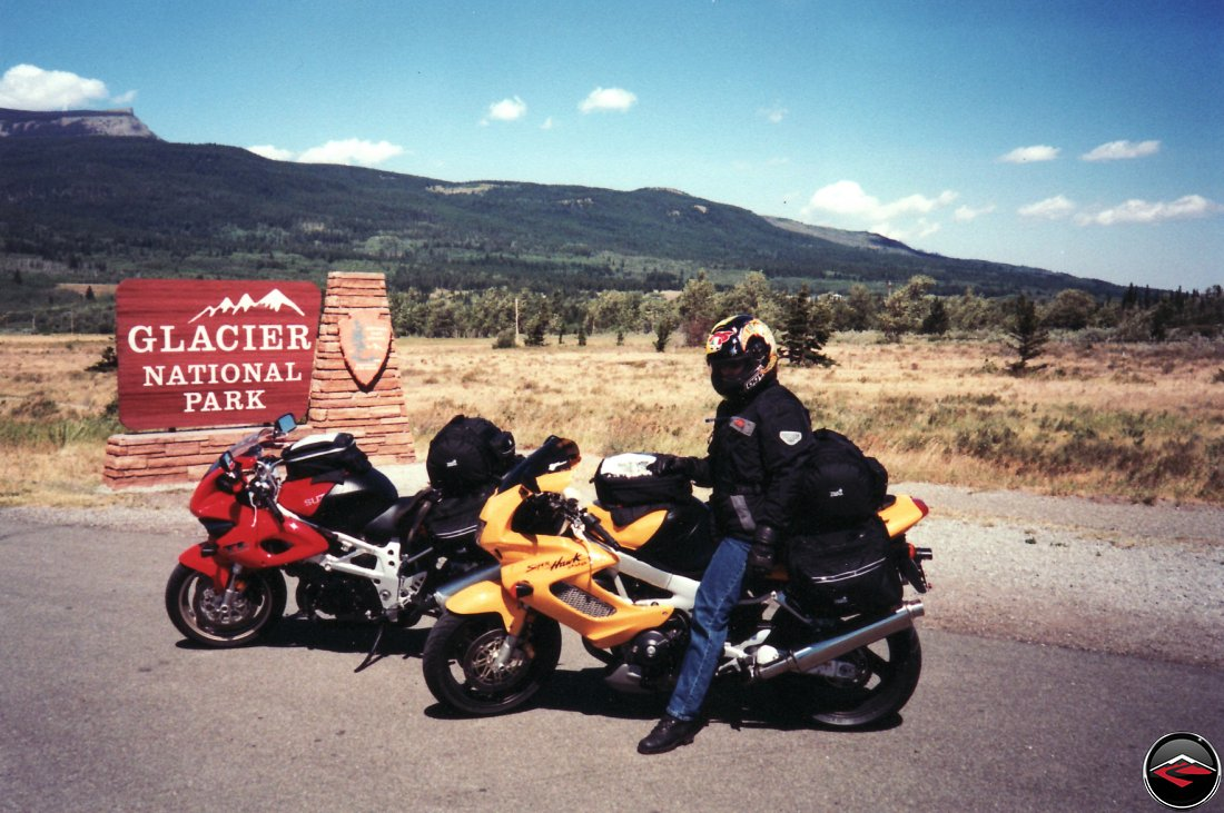 TL1000S and Honda Superhawk motorcycles Entering Glacier National Park
