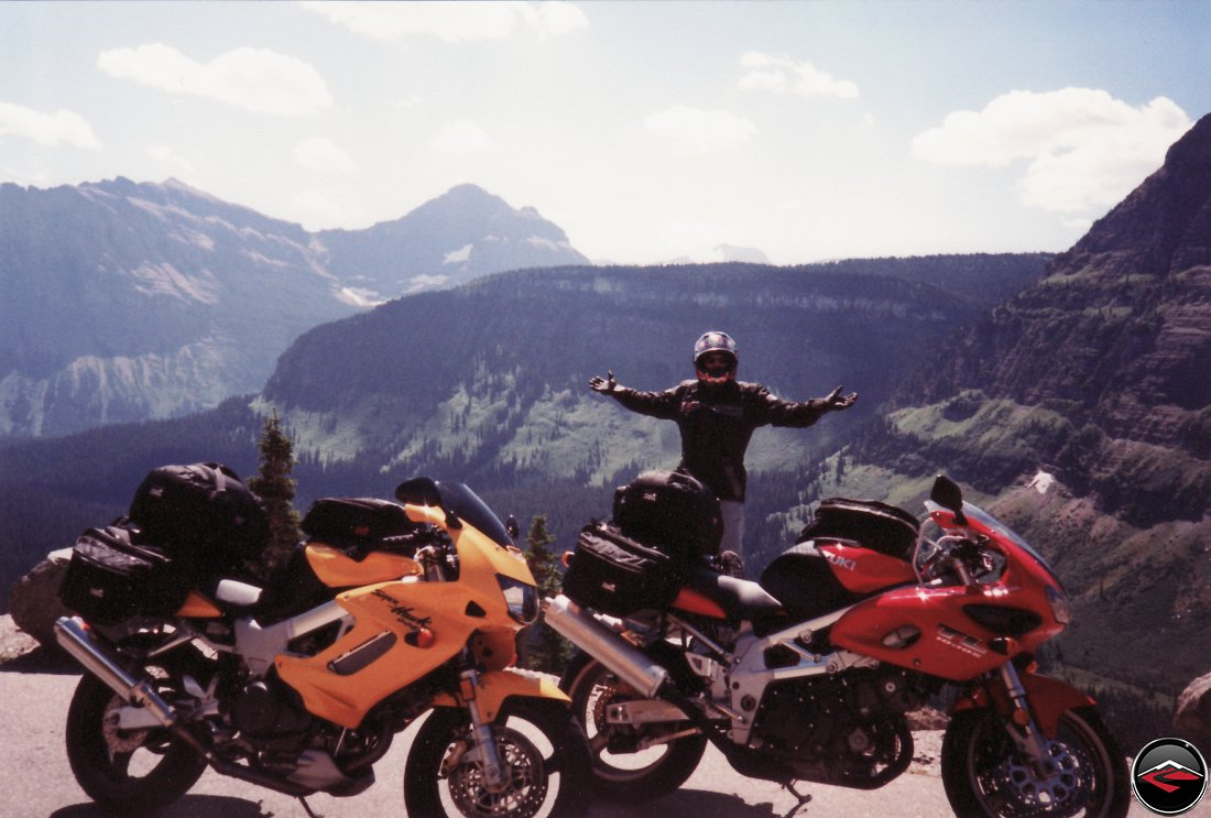 TL1000S and Honda Superhawk motorcycles at the top of logan pass and the views from the top