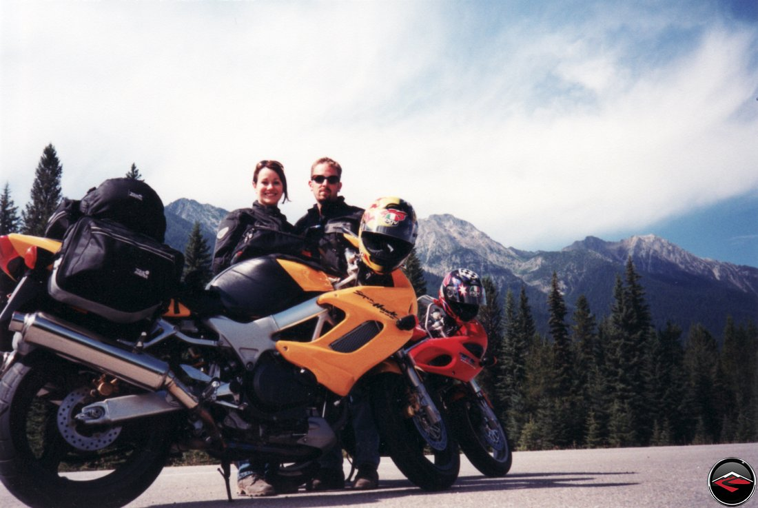 TL1000S and Honda Superhawk motorcycles in the Canadian Rockies