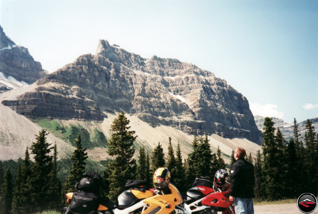 Suzuki TL1000S and Honda Superhawk motorcycles and big mountains