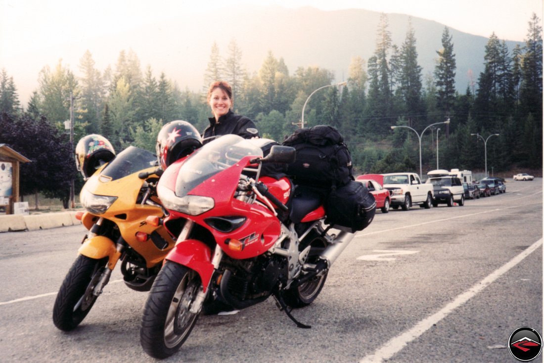 Suzuki TL1000S and Honda Superhawk motorcycles and reciving priority boarding for a ferry ride