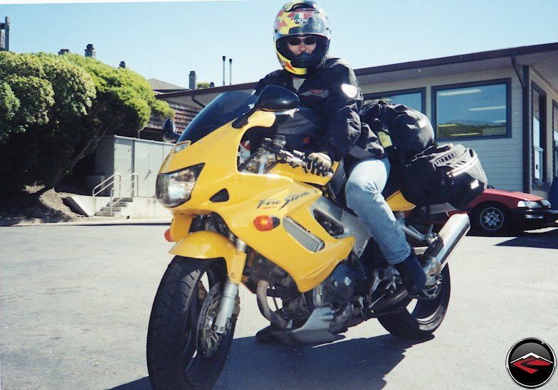 Kris on her Yellow SuperHawk VTR1000 FireStorm
