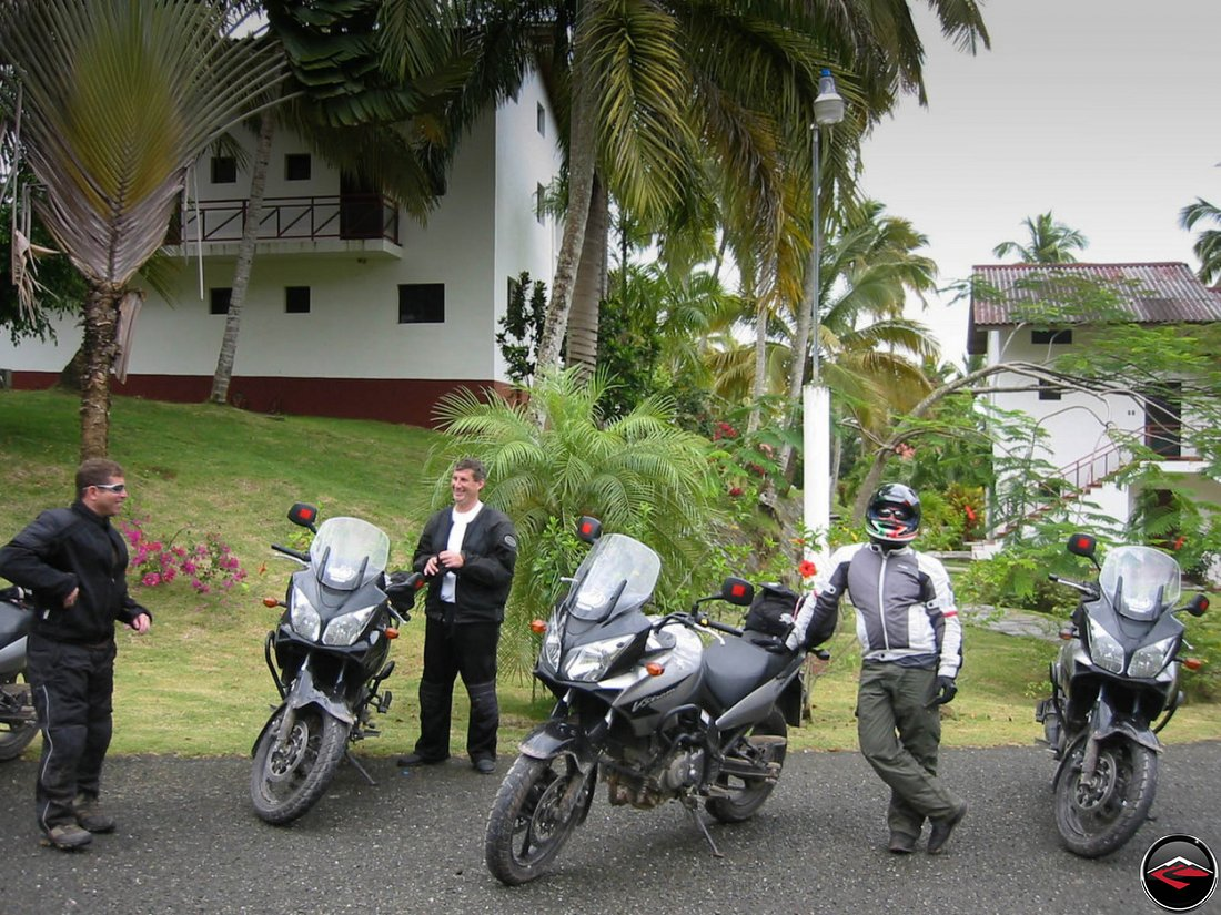 Motorcyles parked at a caribbean hotel