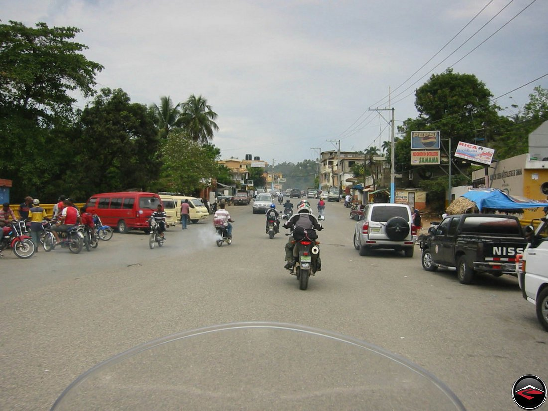 motorcycles riding through Samana, Dominican Republic