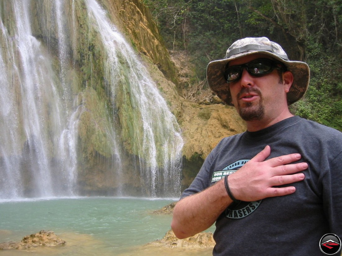 Man standing in front of Cascada El Limon Dominican Republic