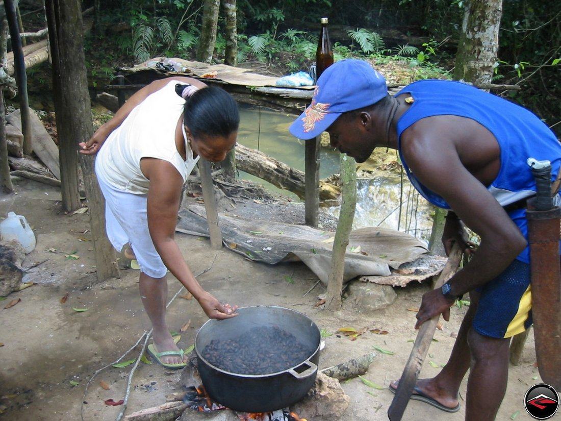 cooking cocoa Cascada El Limon Dominican Republic