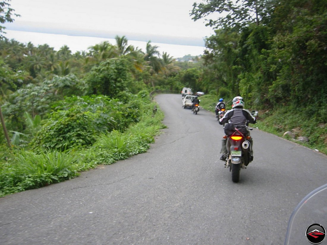motocycles riding down the side of the mountain into El Limon Samana Dominican Republic