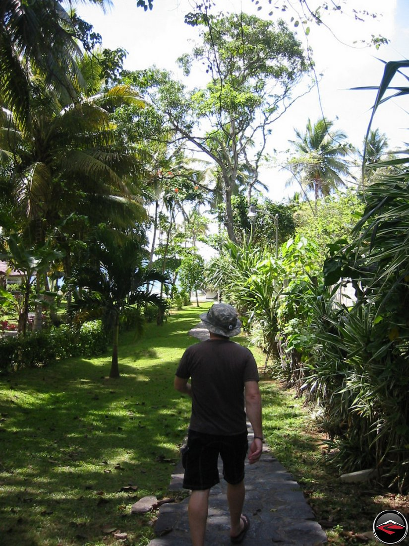 walking to the beach at La Tambora Beach Resort