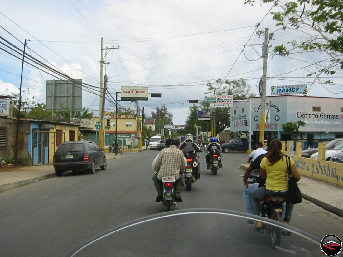 motorcycles in traffic in the dominican republic