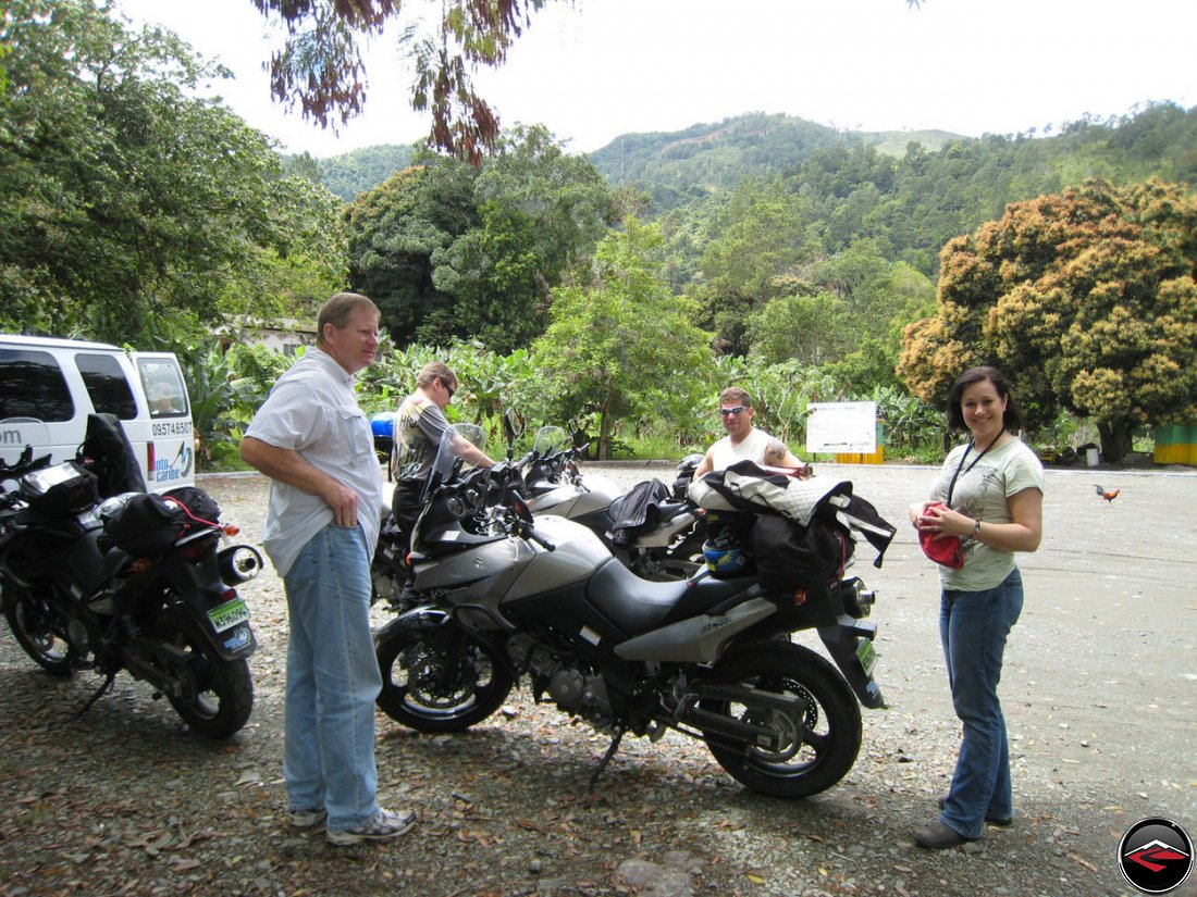 motorcycles in the Salto Jimenoa parking lot