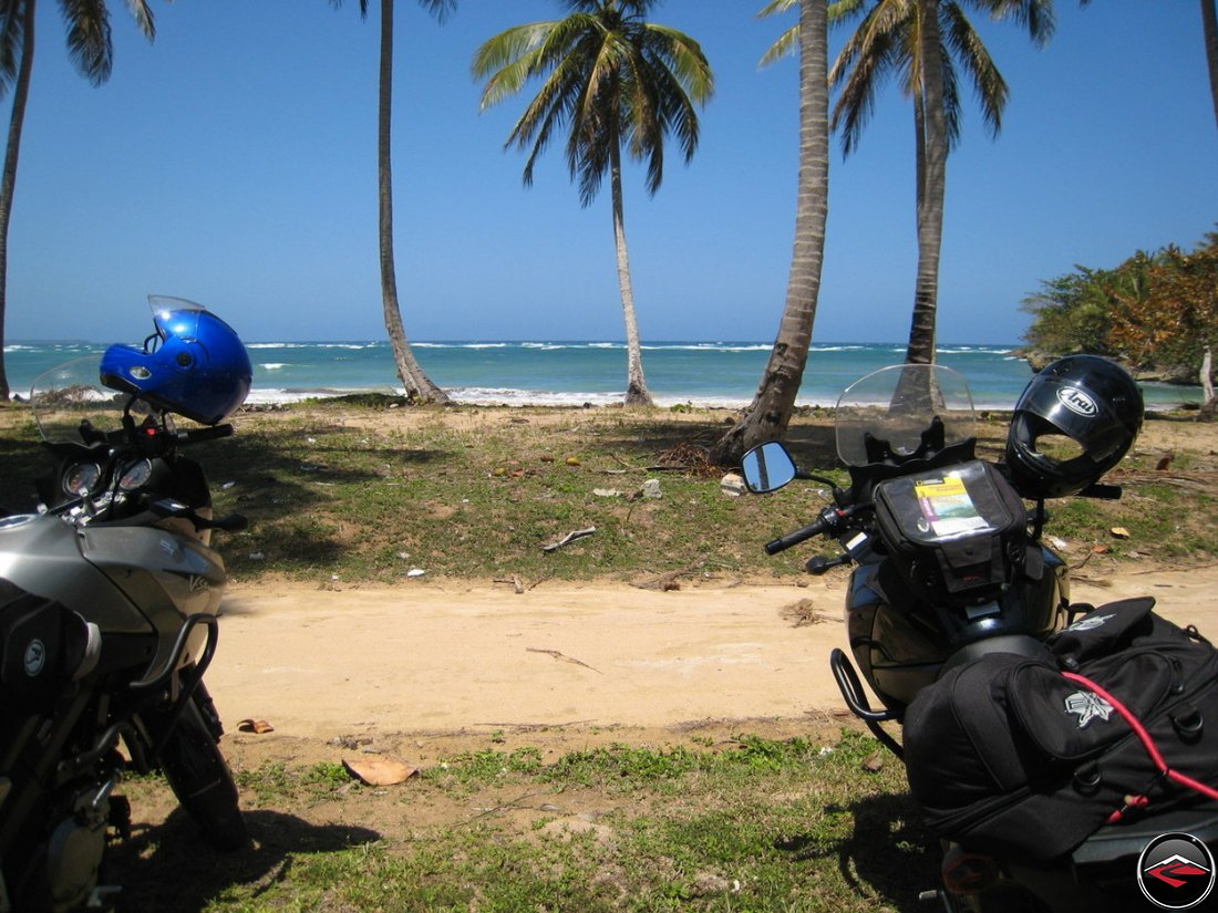 motorcycles parked on a caribbean beach