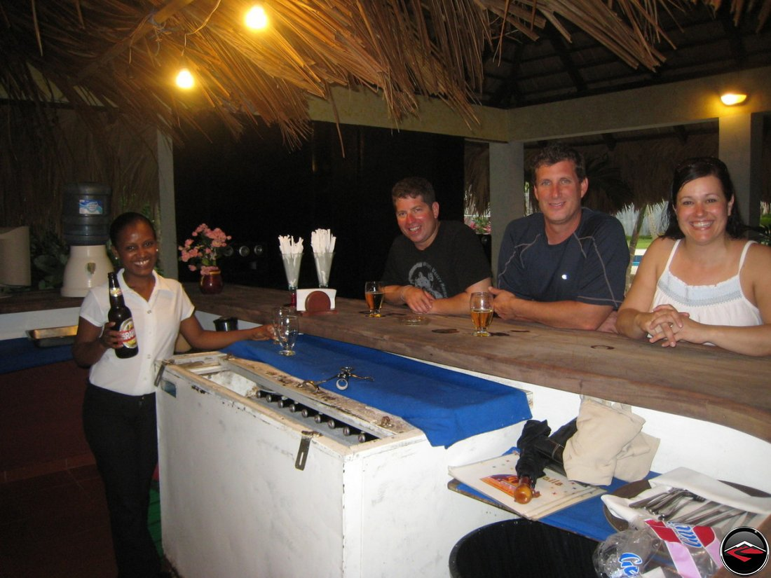 Drinking beer at a Caribbean Teak Bar