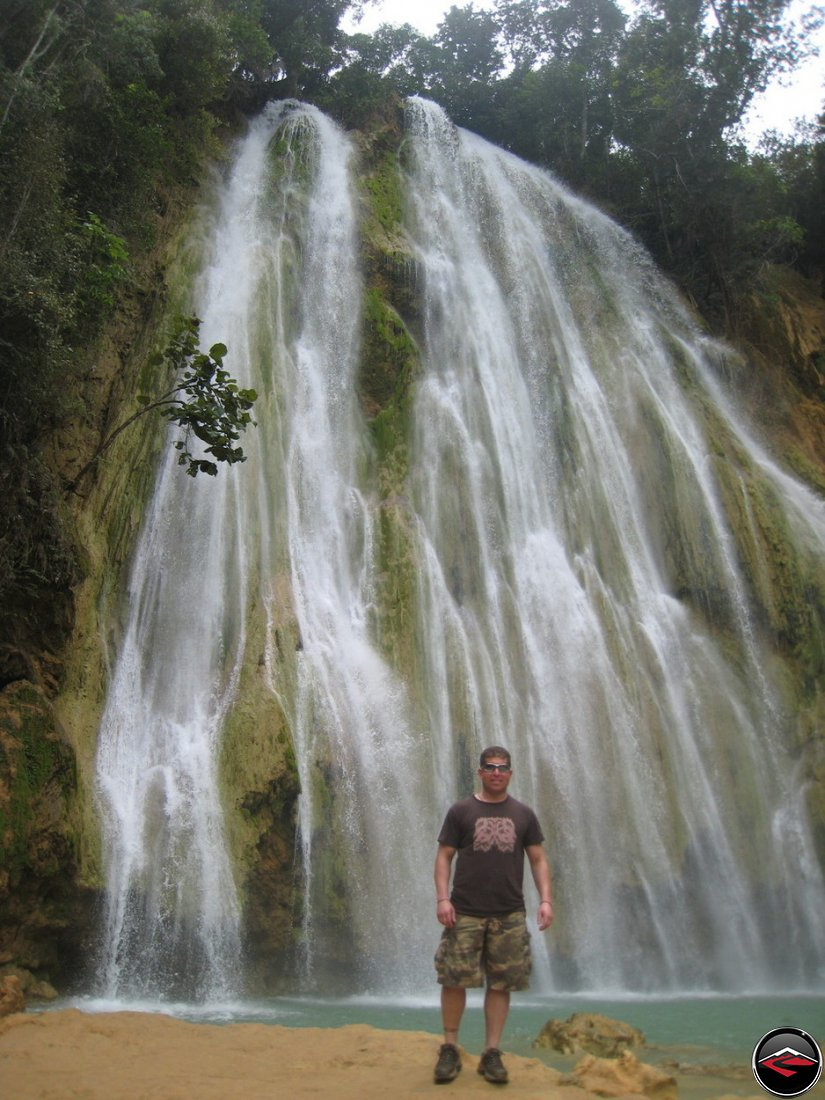 man standing in front of the Cascada El Limon Dominican Republic