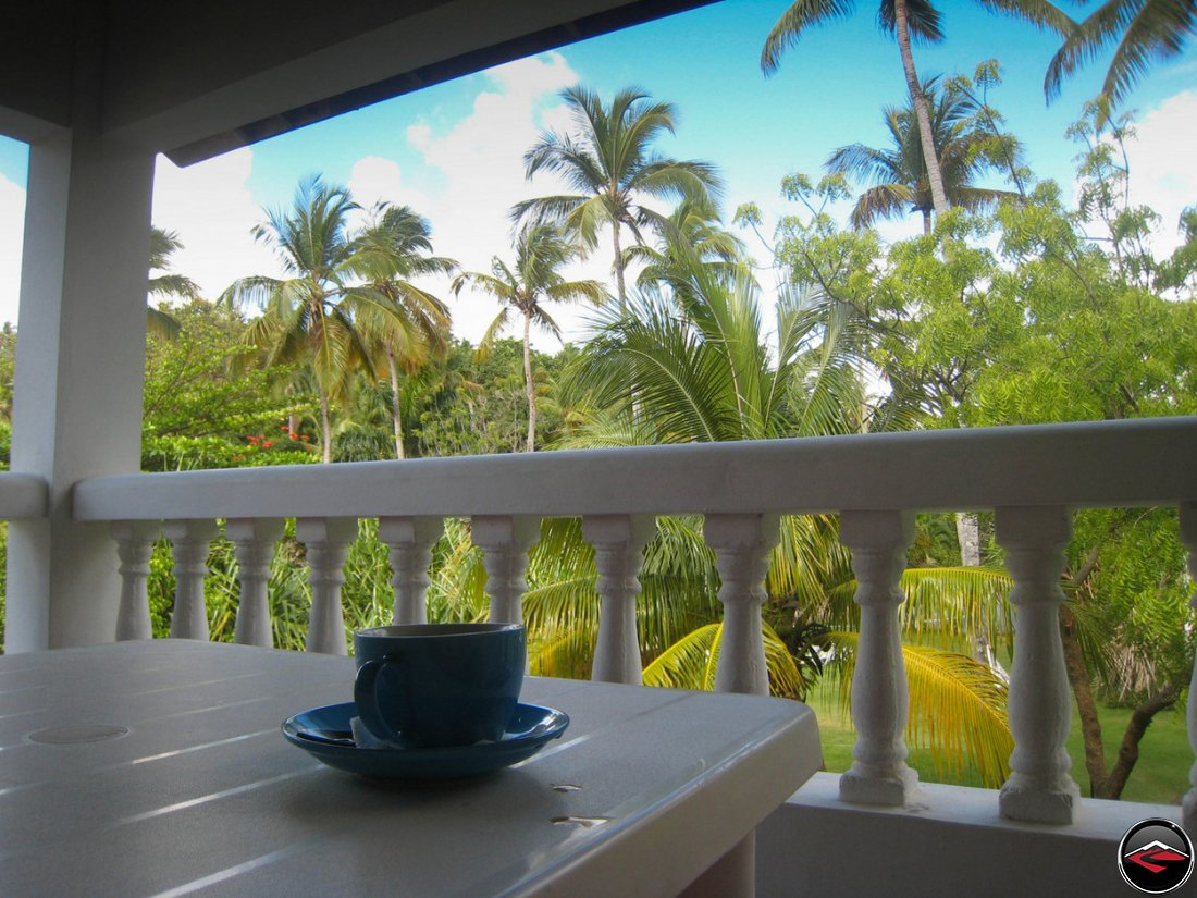 morning coffee in La Tambora Beach Resort