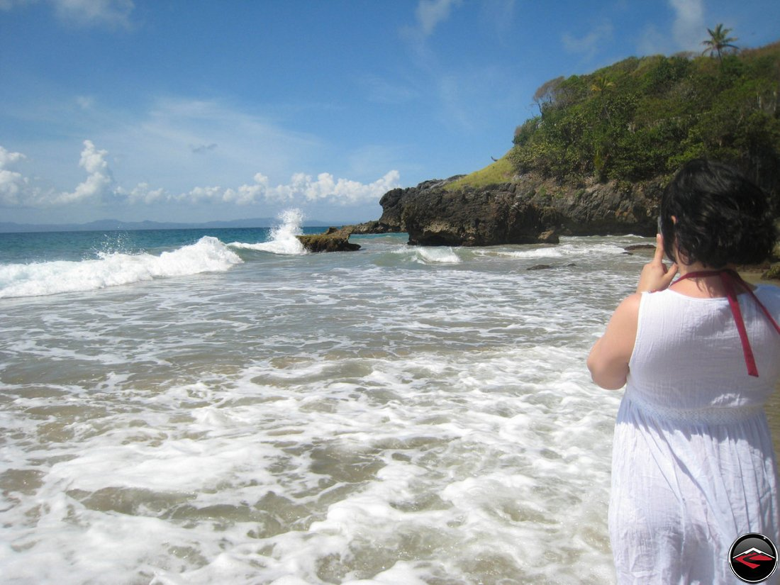 Waves Crashing into rocks at La Tambora Beach Resort