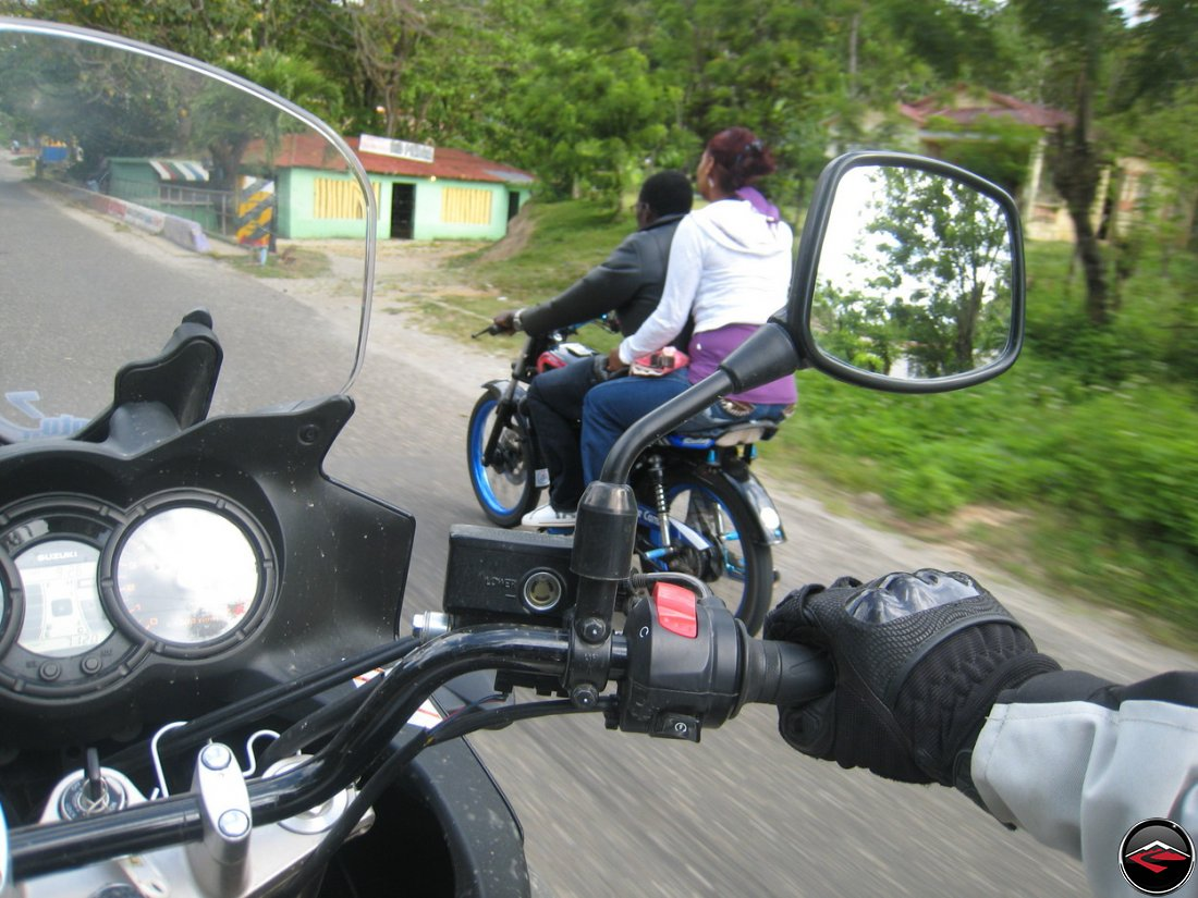 blue accessories on a motorcycle in the dominican republic