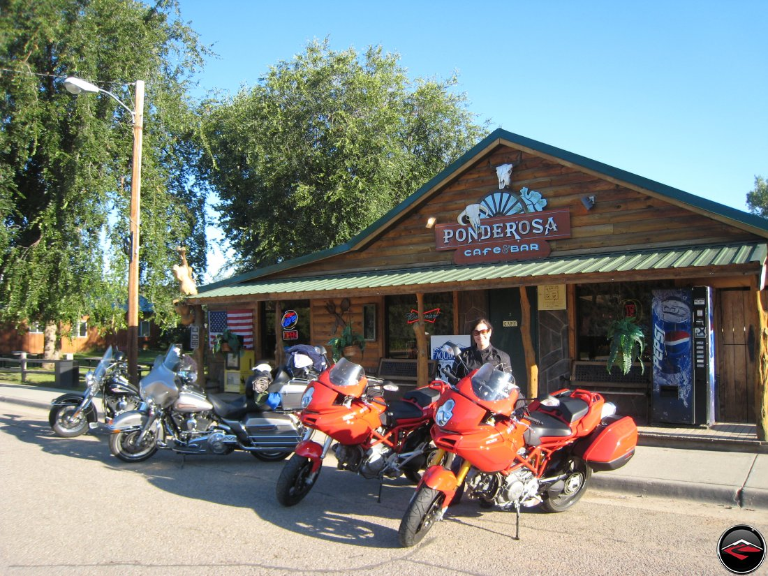 Motorcycles parked in front of the Ponderosa Cafe and Bar in Hulett, Wyoming