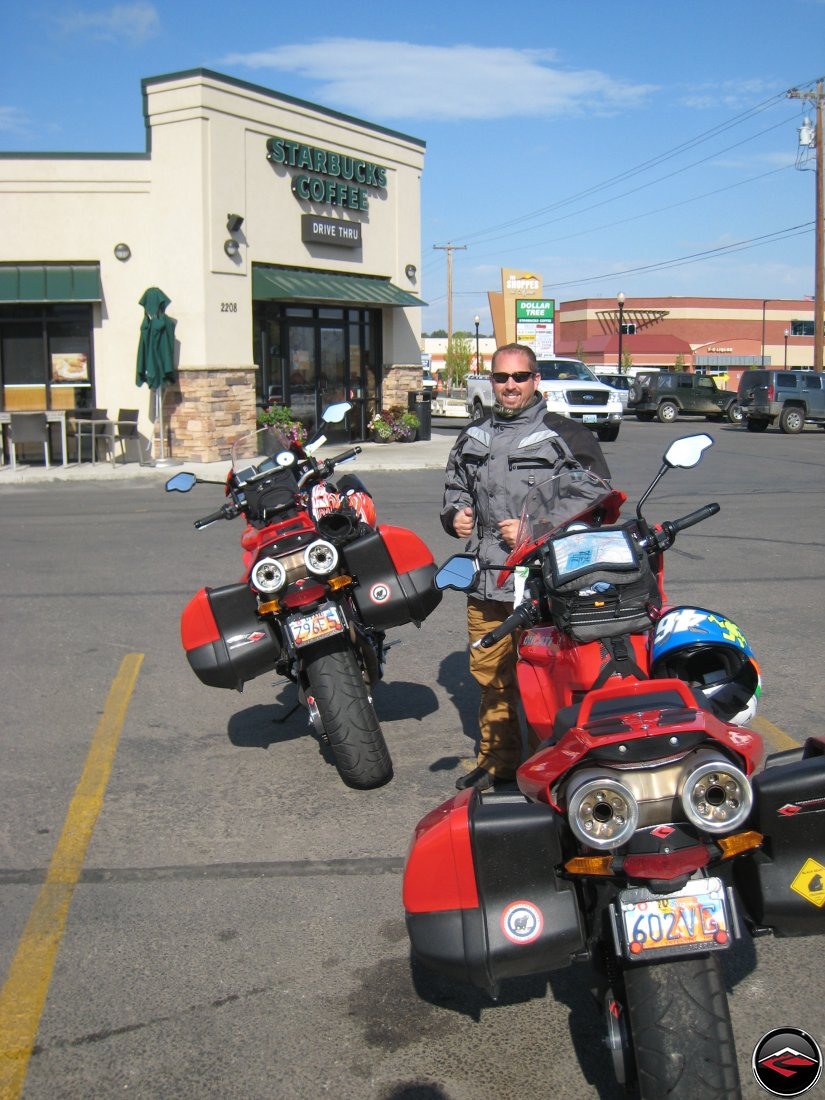 Ducati Multistrada motorcycles stopped in front of Starbucks Coffee in Sheridan Wyoming